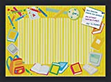 PinPix decorative pin cork bulletin board made from high quality canvas, Yellow School Supplies Board printed at 18x25 Inches and framed in Satin Black (PinPix-33)
