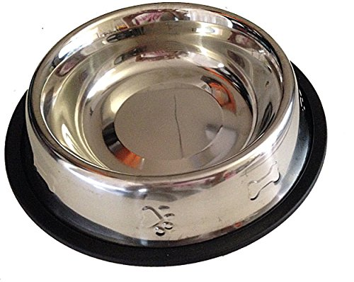 Stainless Steel non-Slip Pet Dog Cat Feeding Bowl 16 Oz with embossed Bone and Paw Print