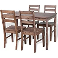 Festnight 5 Pcs Dining Table Set Acacia Wood Kitchen Dining Set with 4 Chairs