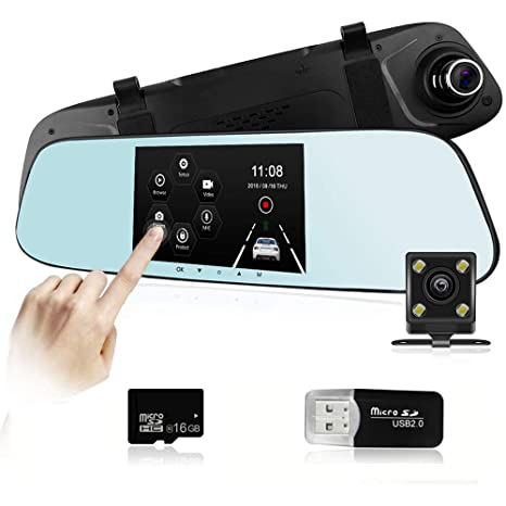 Mirror Dash Cam Ispring 5'' IPS Touch Screen FHD 1080P 140° Wide Angle Dual  Lens Front And Rear IP68 Waterproof Car Camera Dashboard Camera DVR WIth