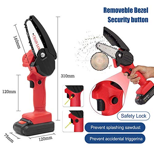 Mini Chainsaw Set Cordless Electric Protable Chainsaw with 4 Chain and Splash