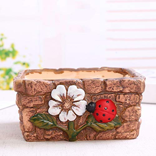 Red Flower Ladybug Square Large Green Plant Potted Potted Ceramic Crafts, Flower Pots Outdoor, Fleshy Flower Pot Plant Container with Drain Hole