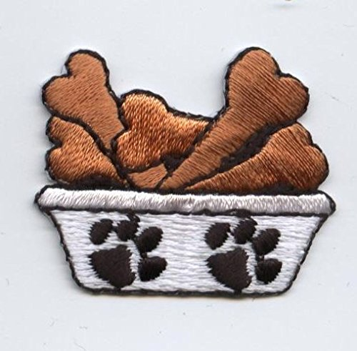 Dog Dish with Bones Iron on Embroidered Patch