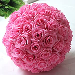 YIZHIHUA Hanging Decorative Flower Ball Centerpieces Silk Rose Wedding Kissing Balls Pomanders Wedding Decoration Ball 3 Sizes (20cm, Pink)