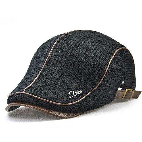 - Knitted Woollen Beret Hat Casquette Flat Visor Newsboy Peak Cap (Black)