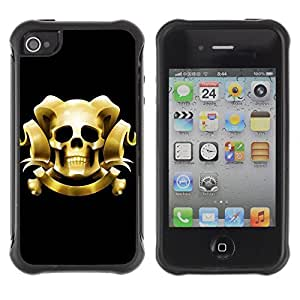 Hybrid Anti-Shock Defend Case for Apple iPhone 4 4S / Cool Skull With Horns
