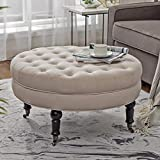 Tufted Ottoman Coffee Table with Storage Simhoo Large Round Tufted Lined Ottoman Coffee Table with Casters,Beige Upholstery Button Footstool Cocktail with Wheels for Living Room