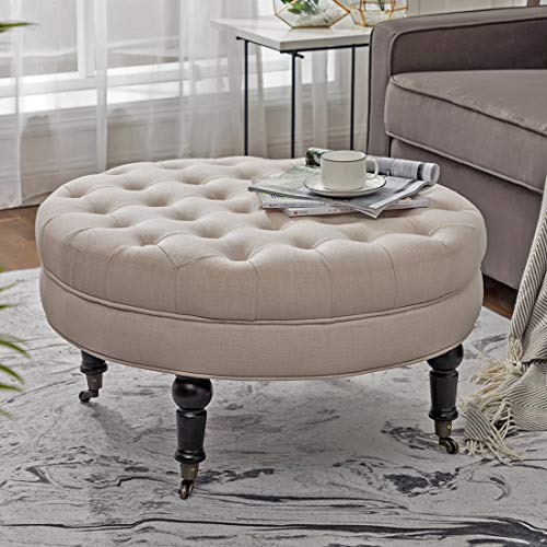 (Simhoo Large Round Tufted Lined Ottoman Coffee Table with Casters,Beige Upholstery Button Footstool Cocktail with Wheels for Living Room)