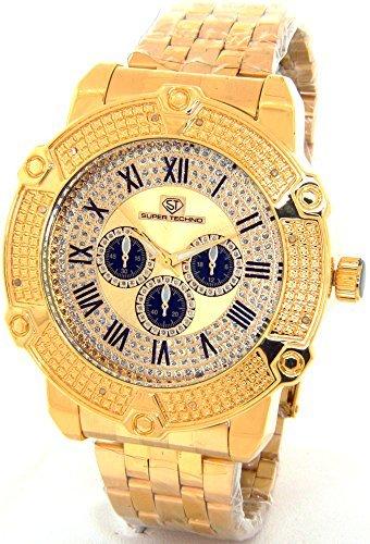 Super Techno Diamond Watch Mens Genuine Diamond Watch Oversized Gold Case Metal Band w/ 2 Interchangeable Bands