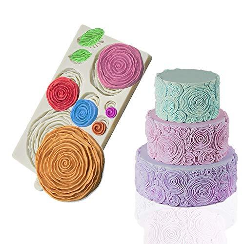 Mity Rain Rosette Ruffle Simpress Silicone Mold Ruffled Roses Fondant Mould for Sugarcraft, Cake Decoration, Gumpaste - Wedding Gumpaste Cake