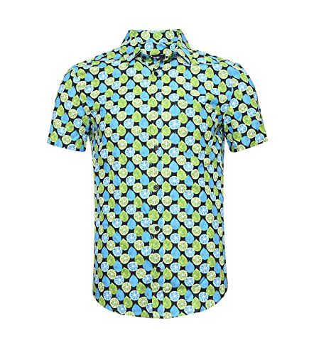 NUTEXROL Hawaiian Shirts Mens Bamboo Print Beach Aloha Party Holiday (SMALL, Green) ()