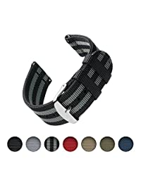 Archer Watch Straps | Premium Nylon Quick Release Replacement Watch Bands for Men and Women, Watches and Smartwatches (Black/Gray, 20mm)