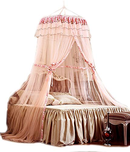 - HugeHug Pastoral Floral Bed Canopy Mosquito Net Free Size Crib/Twin/Full/Queen/King, Round Top Diameter 40 inches (papayawhip)