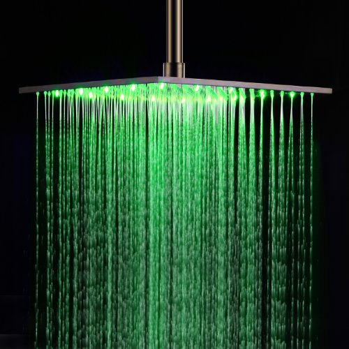 Lightinthebox Ceiling Mount 16 Inch Stainless Steel Square LED Rainfall Shower Head Without Shower Arm Unique Modern Designer Bathroom Waterflow Powered No Battery Needed Bath Shower Faucets Roman Mixer Taps Plumbing Fixtures hot sale