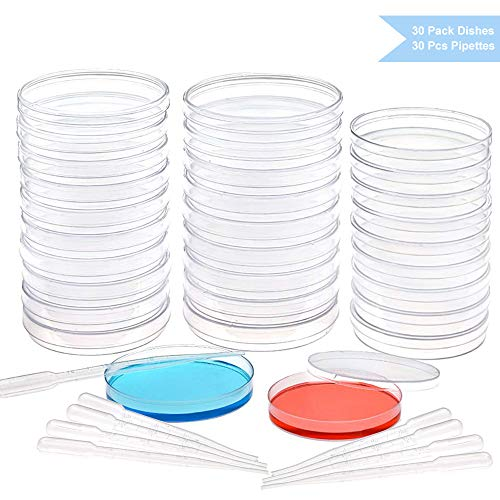 (DEPEPE 30pcs Plastic Petri Dish Set with Lids (20pcs 100mm/10pcs 90mm) with 20pcs 3ml Plastic Transfer Pipettes, for School Science Fair Project and)