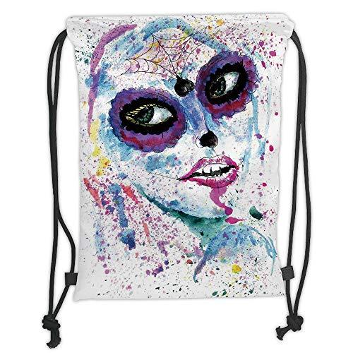 Girls,Grunge Halloween Lady with Sugar Skull Make Up Creepy Dead Face Gothic Woman Artsy,Blue Purple Soft Satin,5 Liter Capacity,Adjustable String Closure ()