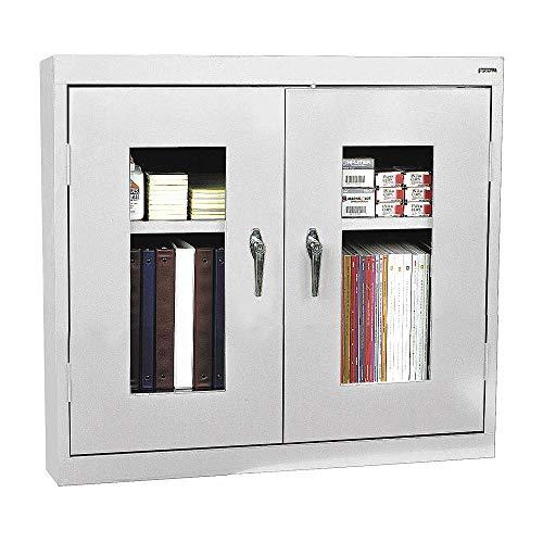 (Sandusky Lee Welded Steel Wall Cabinet - Clear View, 36in.W x 12in.D x 30in.H, Light Gray, Model# WA2V361230-05 )