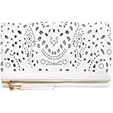 Mily Foldover Clutch Purse Hollow Out Flower Envelop Clutch Chain Tote Shoulder Bag Handbag with Tassel White