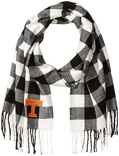 Nitro Usa Buffalo Check Soft Fringe Scarf with Embroidered Tennessee Power T Applique, One Size, Black/White