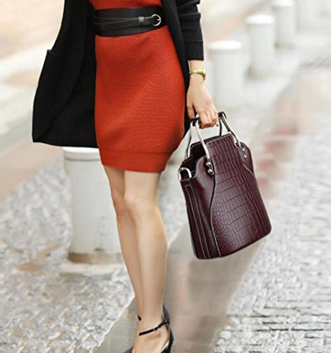 Shoulder Black Handbags Black Bags Wallets Purse Pattern Cowhide MYLL Header Crossbody Leather Layer Crocodile Women Fashion Small 8xnaZg