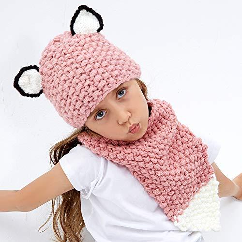 Kids Knit Hat Winter Hat Warm Animal Hat Handmade Crochet Hat Scarf Cute Animal Ear Beanies Hat for Girls Boys (Fox)