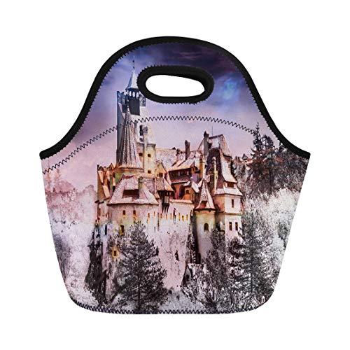 Semtomn Neoprene Lunch Tote Bag Bran Dracula Castle of Transylvania in Brasov Region Halloween Reusable Cooler Bags Insulated Thermal Picnic Handbag for Travel,School,Outdoors,Work]()