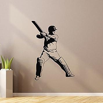 Amazon Com Sports Wall Decal Vinyl Sticker Cricket Bat Ball Sport Wall Decals Bedroom Dorm Boy Nursery Teen Kids Room Wall Art Home Decor Z842 Baby