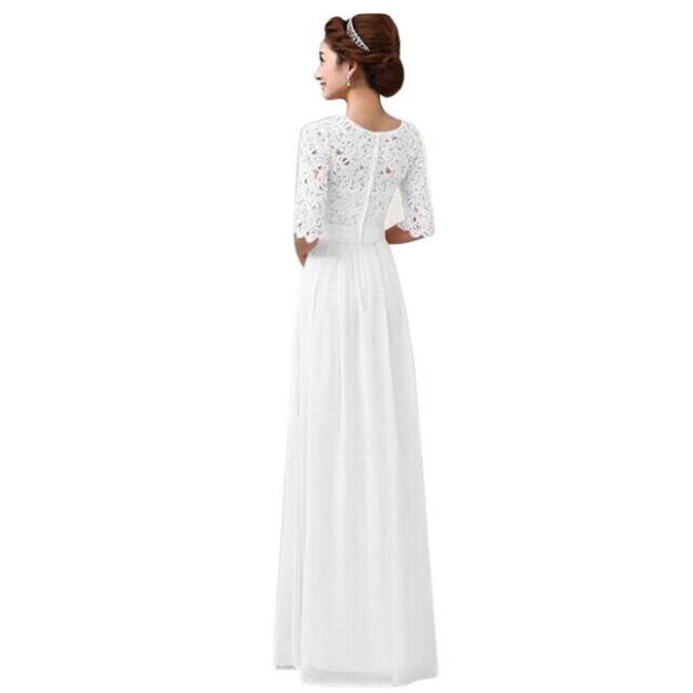 Kleider Damen Sunday Frauen Spitze Chiffon Kleid Abendkleid Damen Röcke Sommerkleid Stretch High Waist Maxi Kleid Skater Flared Gefaltete Lange Rock Weiß