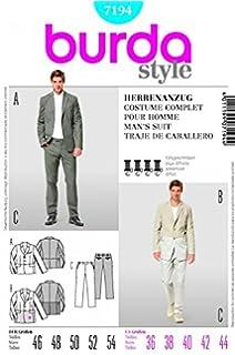 9015386b25b1a5 Burda Herren Schnittmuster 7194 – Jacke und Hose Hose Anzug Größen  36–44