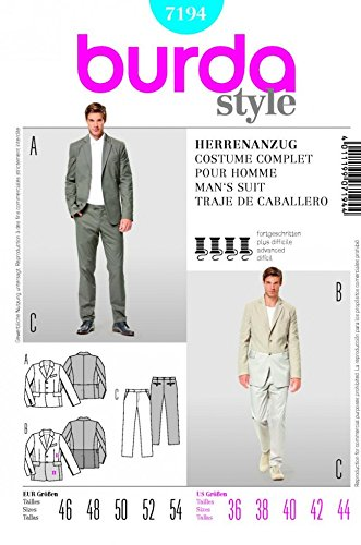 Amazon Burda Mens Sewing Pattern 40 Pants Sizes 4040 Best Mens Suit Sewing Patterns