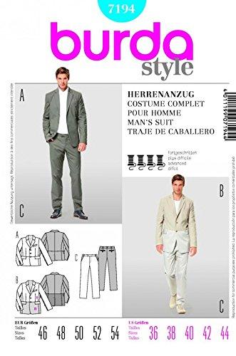 Burda Herren Schnittmuster 7194 – Jacke und Hose Hose Anzug Größen ...