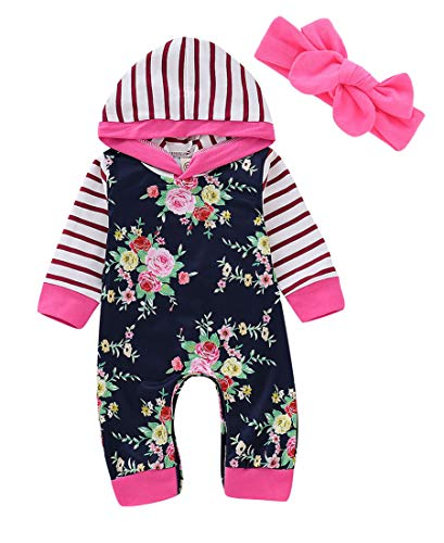 Newborn Baby Girl Romper Overalls Autumn Hooded Jumpsuit Outfits Clothes Toddler Kids Girls Striped Floral Rompers Playsuit (6-9 Months, Nave Blue)