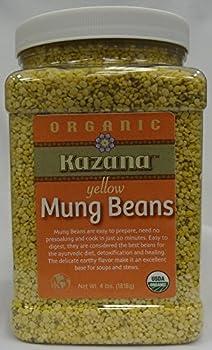 Kazana Yellow Mung Dahl Beans, 4 Lb Jar Pack USDA Certfied Organic , Kosher