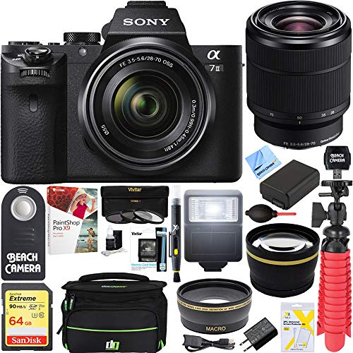 Sony Alpha 7II Mirrorless E-Mount Camera Full Frame Sensor FE 28-70mm F3.5-5.6 OSS Lens SEL2870 + 64GB SDXC Memory Kit + Spare Battery Accessory Bundle