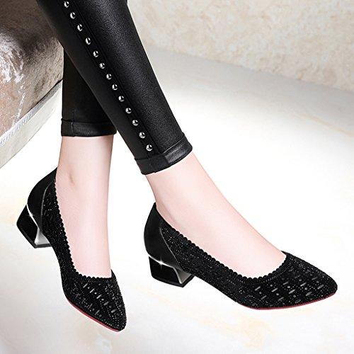 Weibliche HWF Einzelne High Größe 35 Sommer Sandalen Heel Farbe Schuhe Schwarz Damenschuhe wE466