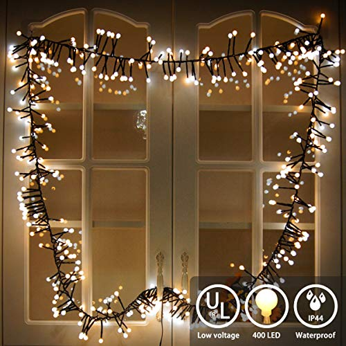 YMing LED String Lights 400 LEDs Room Decorative Lights - Indoor Outdoor String Lights - Globe String Lights - Season Decor Fairy Lights for Party Wedding Garden Holiday (Warm White + White) (With Led Christmas Lights Garland)
