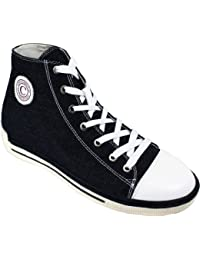 "<span class=""a-offscreen"">[Sponsored]</span>K8828102 - 3 Inches Taller - Height Increasing Elevator Shoes (Black Canvas Sneakers)"