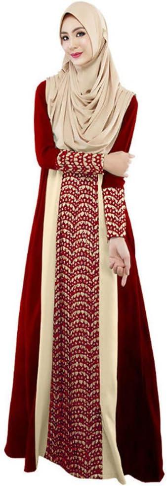 Amphia - damska długa sukienka maxi Dubai etniczna sukienka patchworkowa Islam Abaya Kaftan Moslem - wełniana sukienka z mozaikowym szwem: Odzież