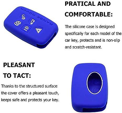 Noir //solo Keyless GO Housse /étui en Silicone pour Cl/é Range Rover Jaguar Coque Cover Porte-Cl/és 5 Boutons pour Land Rover Discovery 4 LR4 Sport Evoque XE XF XJ Protection T/él/écommande Voiture