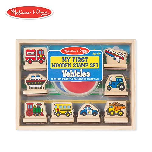 Melissa & Doug My First Wooden Stamp Set - Vehicles (Arts & Crafts, Sturdy Wooden Storage Box, Washable Ink, 10 Pieces)