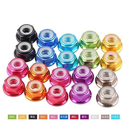 Nuts 1PCS-M2/M3/M4/M5 Multi-Color Aluminum Alloy Flange Nut, Nylon Ring Flange Screw Nut, Lock Bolt Nut - (Size: M6, Color: Black)