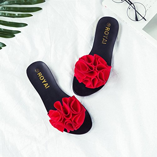 Damen Zehentrenner, Yogogo Strand Schuhe Blume flache Sandalen Slip Resistant Pantoffeln Sandale Rot
