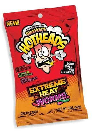 WarHeads Hotheads Extreme Heat Gummy Worms 5 -Ounce Packs: 12-Piece Box