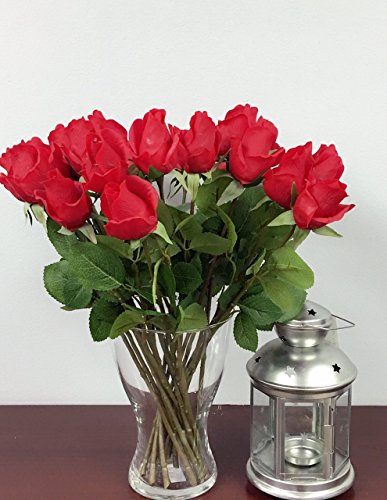 1 Dozen Live-Feel real touch artificial long stem rose with vein printed leaf.Keepsake flowers