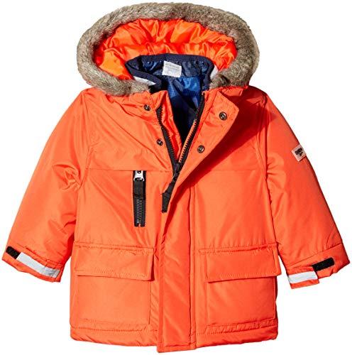 Osh Kosh Boys' Toddler 4-in-1 Heavyweight Systems Jacket Coat, Orange/Blue Print, 4T (1 Boys Coat In 4 Winter)