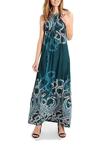 BENANCY Womens Sexy Halter Neck Long Beach Dresses Sleeveless Print Maxi Dress