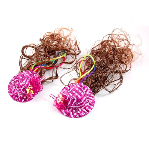 Curly Girls Brown Wig Headwear w Rose Hat Metal Clip Hairpieces 2 Pcs