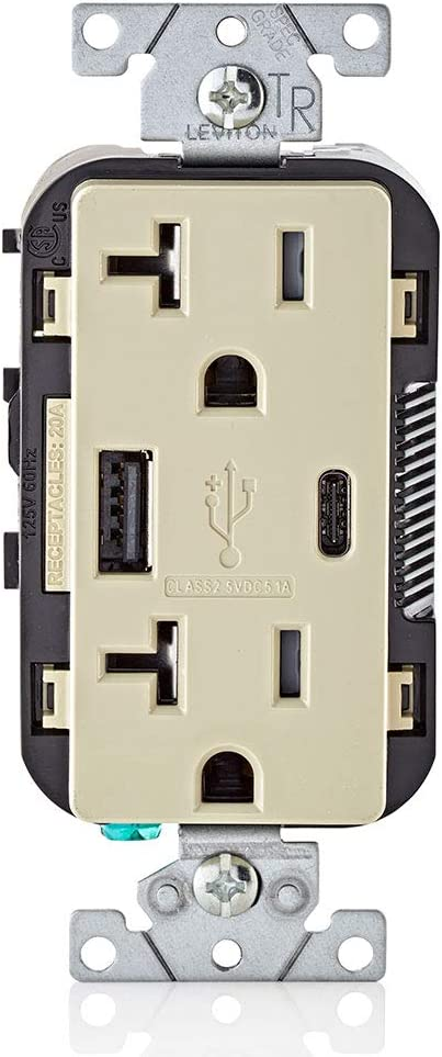 Leviton T5833-I 20-Amp Type-C USB Charger/Tamper Resistant Receptacle, Ivory