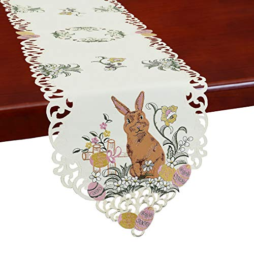 Simhomsen Embroidered Bunny Table Runners, Easter Holiday Season Decorations, Dresser Scarves (14 x 69 Inch)