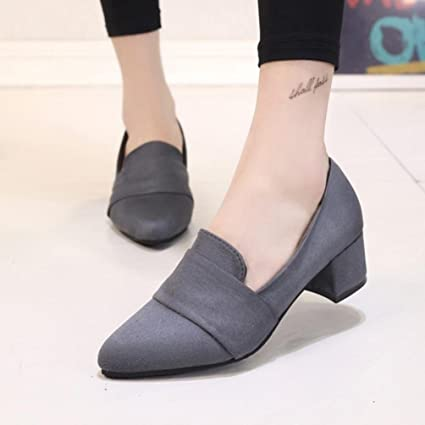 f405b7dc97bc Amazon.com  Hemlock Women Office Wedges Shoes Mid Heel Sandals Shoes Dress  Shoes Pointed Toe Slip On Shoes (US 6.5